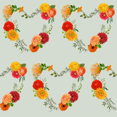 autumn garden: Vintage Colorful Floral Background - seamless pattern - in vector