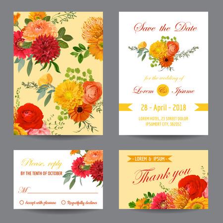 elegant woman: Invitation or Greeting Card Set - for Wedding, Baby Shower - in vector Illustration