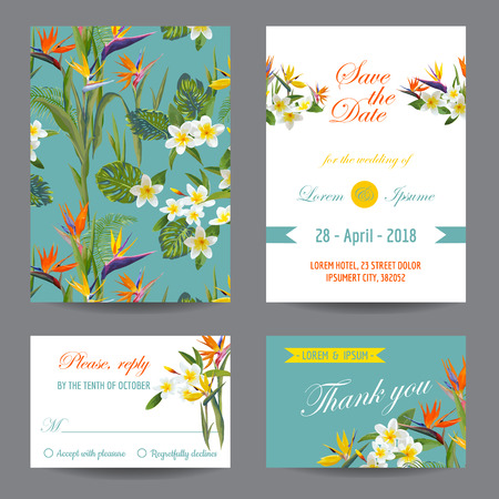 초대 또는 인사말 카드 세트 - 열 대 꽃 디자인 - 벡터 일러스트