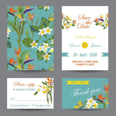 Uitnodiging of wenskaart Set - Tropische Bloemen Design - in vector Stock Illustratie