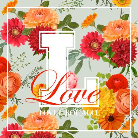 ramo de flores: Colorido de la vendimia de las flores Diseño Gráfico - para la camiseta, la moda, impresiones - en el vector