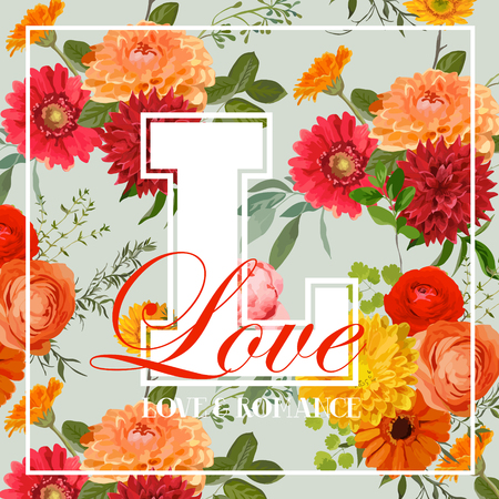 Vintage Colorful Flowers Graphic Design - for t-shirt, fashion, prints - in vector Illustration
