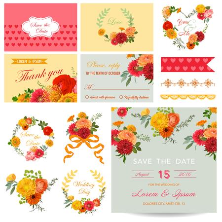 congratulations: Elementos de diseño del libro de recuerdos - invitación de la boda tema de la flor - en el vector Vectores