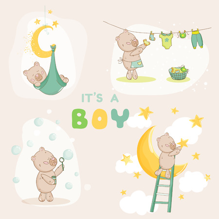 baby boy announcement: Baby Shower Set - Cute Baby Bear - in vector