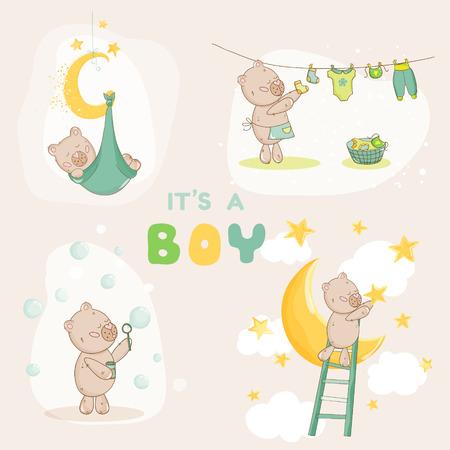 Baby Shower Set - Oso lindo del bebé - en el vector
