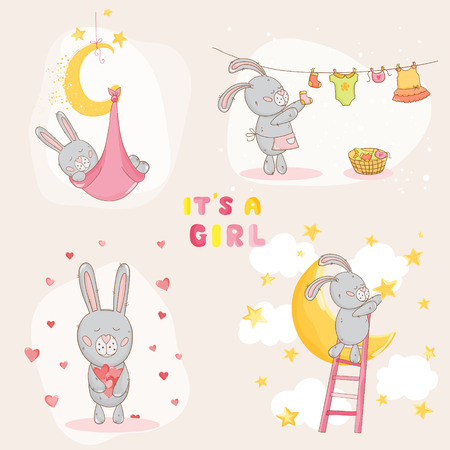 baby girl: Baby Shower or Arrival Card - with Baby Bunny - in vector
