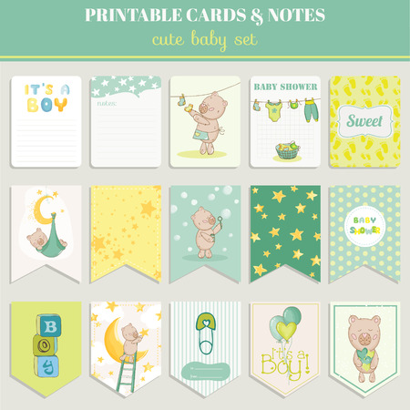 arrival: Baby Boy Card Set - for birthday, baby shower, party, design - in vector