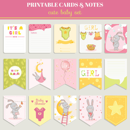 baby shower party: Baby Girl Card Set - for birthday, baby shower, party, design - in vector Illustration