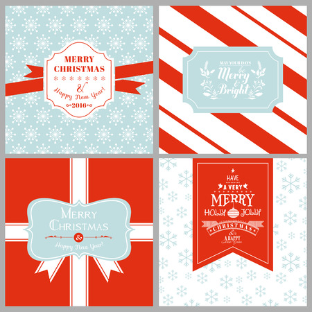 postcard vintage: Vintage Christmas Tags or Cards -  in vector
