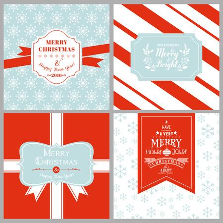 motivos navideños: Vintage Etiquetas de Navidad o tarjetas - en vector