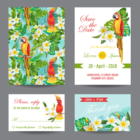 tropical: Invitation or Greeting Card Set - Tropical Birds and Flowers Design - in vector
