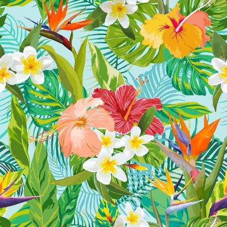 Trópusi virágok és levelek háttér - szüret zökkenőmentes minta - vektor Illusztráció