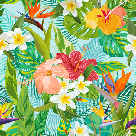 Tropikal �i�ekler ve Arka Plan Yapraklar - Vintage Diki?siz Desen - vekt�r i�inde Çizim