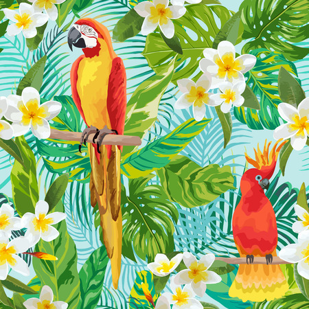 tropical bird: Tropical Flowers and Birds Background - Vintage Seamless Pattern - in vector