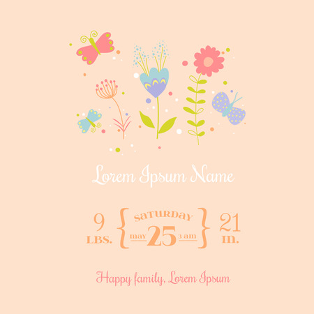 arrival: Baby Arrival Card - for design and scrapbook - in vector