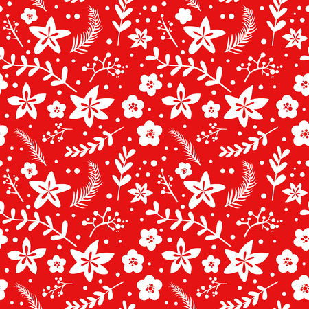 christmas background: Christmas Floral Background - retro seamless pattern - in vector Illustration