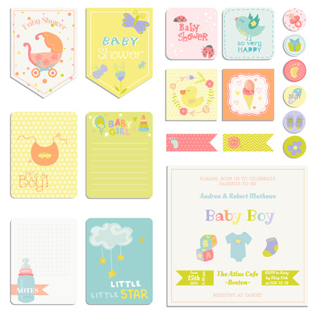 Baby Shower or Arrival Set - Tags, Banners, Labels, Cards - in vector Çizim