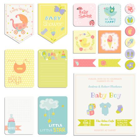 O chá de fraldas ou Chegada Set - tags, faixas e etiquetas, cartões - no vetor