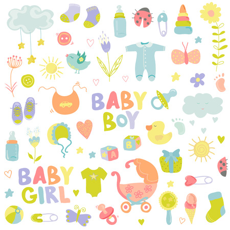 baby boy announcement: Baby Boy or Girl Design Elements - for design and scrapbook - in vector Illustration