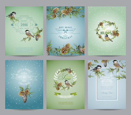 vintage flower: Set of Christmas Brochures and Cards - Colorful Layouts - in vector