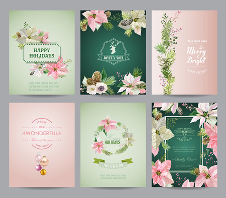 christmas flower: Set of Christmas Brochures and Cards - Colorful Layouts - in vector
