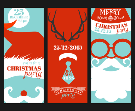photo card: Christmas Retro Party Cards - Photo booth Style - in vector Illustration