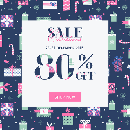 christmas sale: Christmas Sale Banner with Gifts - in vector