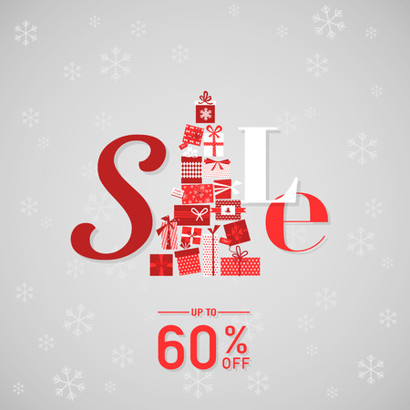 christmas sale: Christmas Sale Poster or Banner - in vector