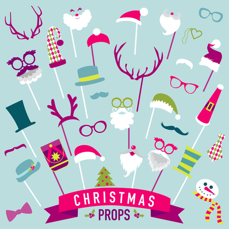 props: Christmas Retro Party set - Glasses, hats, lips, mustaches, masks - Photo booth Props in vector