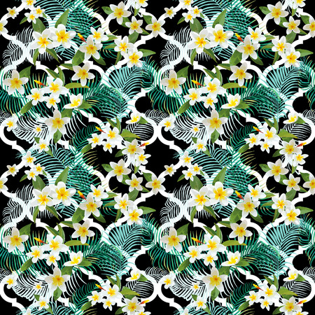 tropical flowers: Tropical Flowers and Leaves Background - Vintage Seamless Pattern - in vector