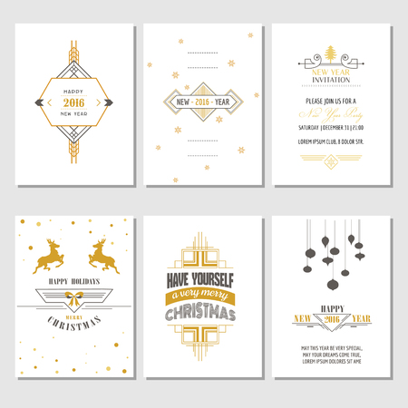 art deco: Christmas and New Year Cards - in vector Illustration