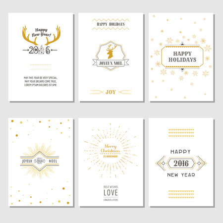 christmas deco: Christmas and New Year Cards - Art Deco Style - in vector