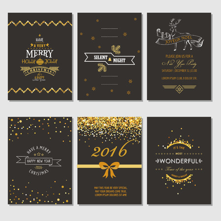 nowy rok: Boże Narodzenie i Nowy Rok Karty - Art Deco Style - w wektorze