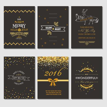 nouvel an: No�l et Nouvel An Cartes - Style Art D�co - dans le vecteur Illustration