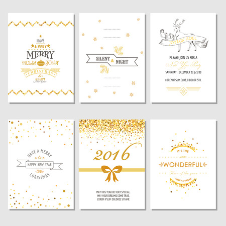 text year: Christmas and New Year Cards - Art Deco Style - in vector