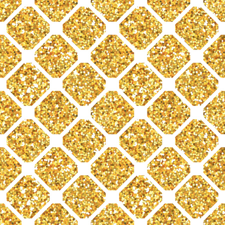 gold stars: Golden Geometry Glitter Background - seamless pattern - in vector