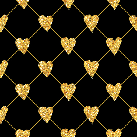 saint valentin coeur: Golden Heart Glitter Background - seamless - dans le vecteur