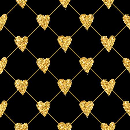 gold stars: Golden Heart Glitter Background - seamless pattern - in vector