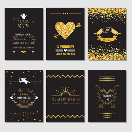 day valentine: Set of Love Cards - Wedding, Valentines Day, Invitation - in vector