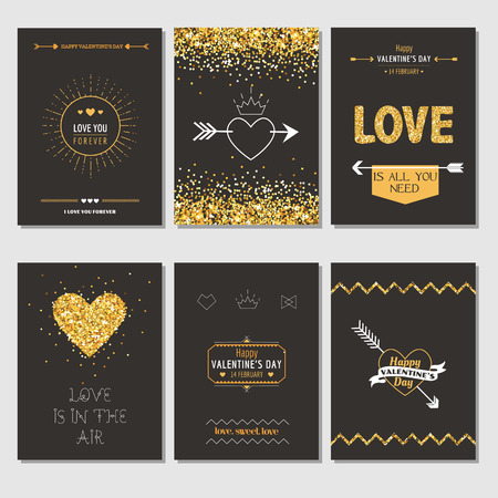 marriage: Set of Love Cards - Wedding, Valentines Day, Invitation - in vector