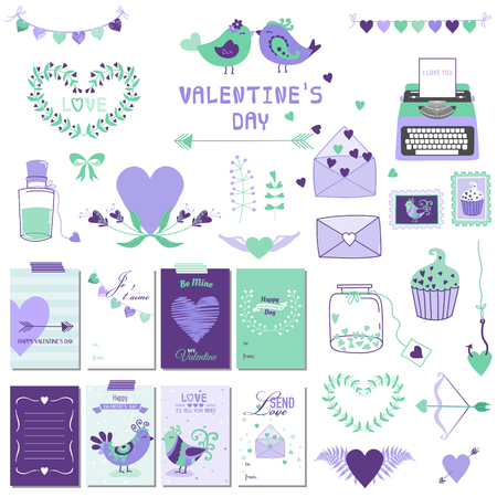 scrapbook: Cute Valentines Day and Love Set - for design, scrapbooking  in vector