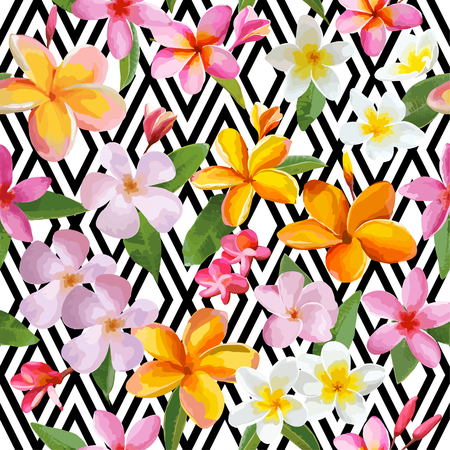 Tropical Flowers and Leaves Geometric Background - Vintage Seamless Pattern - in vector Illustration