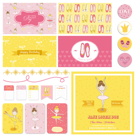 muneca vintage: Álbum de recortes elementos de diseño - Set Bailarina linda - para baby shower, cumpleaños, fiesta - en el vector