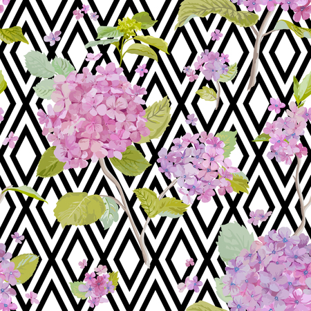 Vintage Hydrangea Background Seamless Pattern For Design Print