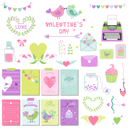 scrapbook cover: Cute Valentines Day and Love Set - for design, scrapbooking  in vector