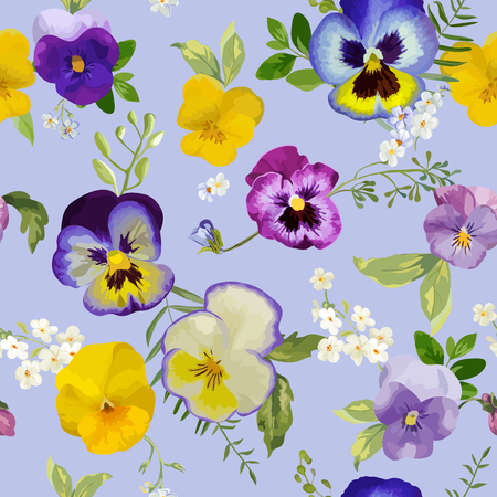 Pansy Flowers Background - Seamless Floral Shabby Chic Pattern - in vector Illustration