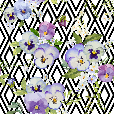shabby: Pansy Flowers Geometric Background - Seamless Floral Shabby Chic Pattern - in vector