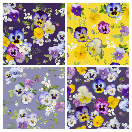 pansy: Pansy Flowers Background Set- Seamless Floral Shabby Chic Patterns - in vector
