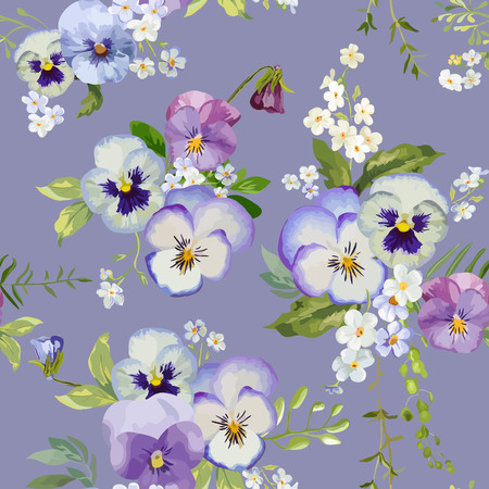 pansy: Pansy Flowers Background - Seamless Floral Shabby Chic Pattern - in vector Illustration