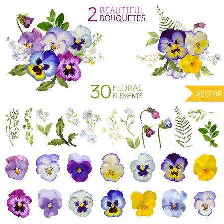 빈티지 팬지 꽃과 잎 - 수채화 스타일 - 벡터